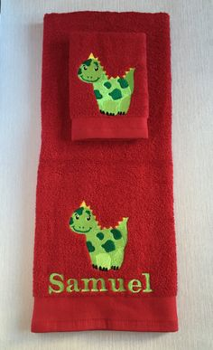 Personalised Animal Baby Towel Gift Set - Hand towel and facecloth set - machine embroidered towel set - gifts for babies - baby shower gift by CoraliesCraftsGifts on Etsy