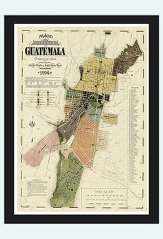 Old Map of Guatemala City  Guatemala 1894 Vintage by OldCityPrints, $32.00