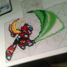 Zero Mega man perler beads by mini_minako