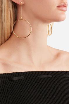 Kenneth Jay Lane   Gold-plated hoop earrings. Bell-back fastening for pierced ears.