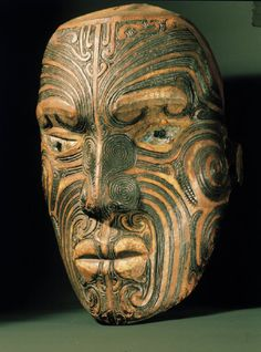 Carved wood Head late c. Maori carved head displaying distinctive moko (facial tattoos) (Auckland, New Zealand, Auckland Institute and Museum); African Masks, African Art, Ta Moko Tattoo, Maori Tattoos, Maori Tribe, Maori People, Facial Tattoos, Polynesian Art, Art Premier