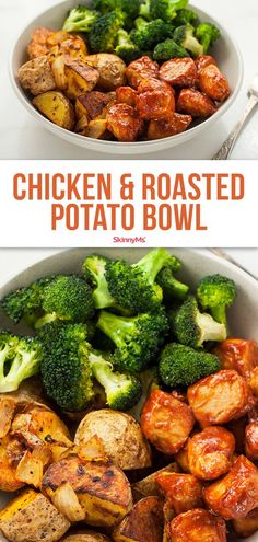 Skinny Chicken and Roasted Potato Bowl Skinny Ms. skinnyms Healthy Skinny Recipes Complete with lean chicken in a savory barbecue sauce, roasted broccoli and potatoes, this skinny chicken and roasted potato bowl recipe is an easy way to a balanced, c Skinny Recipes, Easy Healthy Recipes, Healthy Dinner Recipes, Cooking Recipes, Skinny Chicken Recipes, Pasta Recipes, Cooking Gadgets, Health Recipes, Healthy Chicken Recipes For Weight Loss Clean Eating