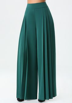 Green pleated pant