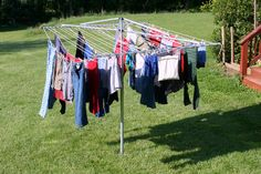 We didn't have a dryer until I was a senior in high school. This is what we used to dry all our clothes outside. If it was raining, we hung the clothes on lines attached to the ceiling rafters in the basement.