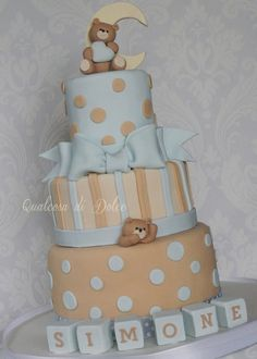 New baby boy baptism teddy bears ideas Beautiful Baby Shower, Baby Shower Fun, Baby Shower Cakes, Shower Time, Baby Showers, Teddy Bear Cakes, Teddy Bears, Baby Boy Baptism, Baby Boy Cakes