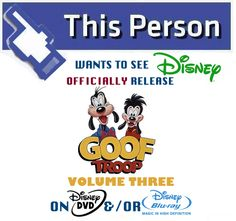 "Share this Campaign Tile on your Social Account news feed and help create buzz for #GoofTroop: VOLUME 3 on DVD/Blu-ray!  Also be sure to pick up your copies of GOOF TROOP: VOLUMES ONE, & TWO on DVD from the Disney Movie Club and Disney Store online!  Also make sure to sign our ""Disney Afternoon-era on DVD"" petition today!"
