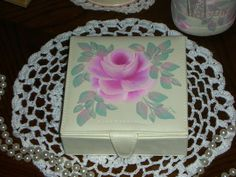 """JEWELRY BOX 4.75X4.75X1.75"""" ej pink roses hp shabby chic cottage hand painted #Unbranded #HANDPAINTED #FrenchCountry #cottage"""