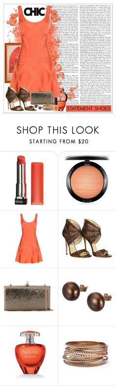"""~020~"" by chantalmiller0 ❤ liked on Polyvore featuring Revlon, MAC Cosmetics, Hervé Léger, Jimmy Choo, Vivienne Westwood, A B Davis, Elizabeth Arden, MNG by Mango, OPI and Heels"