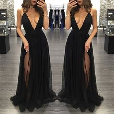 Black deep V-neck tulle long prom dresses,evening dress,formal dress