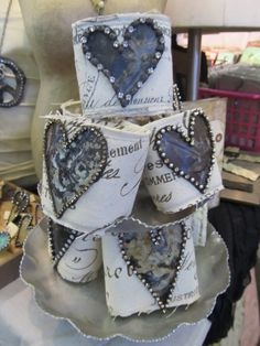 fabric cuffs with metal hearts and rhinestones