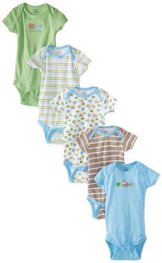 Gerber Baby-Boys Newborn 5 Pack Variety Brand Elephants Onesies Brand, Elephants Blue, 3-6 Months