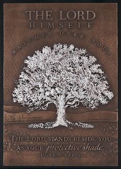 """[""""A wonderful gift, or an encouraging reminder to yourself, this Moments of Faith plaque features a strong, elegant tree, spreading its branches over a vast field. The plaque reads, \""""The Lord Himself watches over you! The Lord stands beside you as your protective shade.\"""" - Psalm 121:5<\/i>Plaque\r\n is made of hand-cut resin with a metallic bronze finish technique and a\r\n wood base. It features a velvet back with both an easel and a \r\nwall-hanging option.Product ..."""