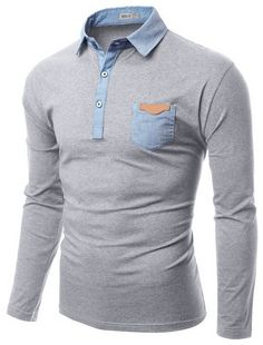 Notes: Woven collar and button band in a stretch tee. Polo Shirt Outfits, Polo T Shirts, Cool Shirts, Casual Shirts For Men, Men Casual, Winter T Shirts, Camisa Polo, Adidas Shirt, Mens Fitness