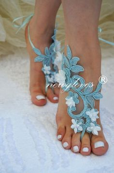 blue Barefoot Sandals french lace Nude shoes Gothic by newgloves, $35.00