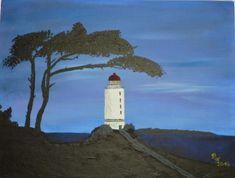 2014 - Hiddensee bei Nacht Acryl auf Leinwand 30 x 40 cm #Ostsee #Hiddensee #Acrylgemälde #KunstaufLeinwand #Kirsche-Art Painting, Art On Canvas, Cherry, Lighthouse, Baltic Sea, Night, Painting Art, Paintings, Painted Canvas