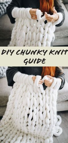 How to make a chunky knit blanket – DIY guide for beginners Step by step guide on how to make a DIY chunky blanket. Don't they look so beautiful and cozy? Fortunately, you can easily make one from the comfort of your home. Large Knit Blanket, Chunky Blanket, Wool Blanket, Diy Décoration, Diy Crafts, Knitting Projects, Sewing Projects, Pilot, Diy Hanging Shelves