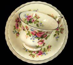 Royal Albert Moss Rose Bone China Vintage Tea Trio
