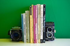 vintage cameras as bookends (and other ways to reuse old cameras) #photography