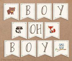 Woodland Baby Shower Banner, Boy Oh Boy. Animals Sign, Boy Shower - Printable - INSTANT DOWNLOAD - Digital file (11 Flags), Owl, Fox, Bear