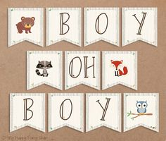 Woodland Baby Shower Banner, Boy Oh Boy. Animals Sign, Boy Shower - Printable - INSTANT DOWNLOAD - Digital file (11 Flags), Owl, Fox, Bear
