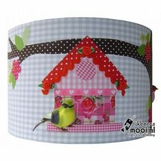 Designed 4 Kids Geruite lampenkap met twee vogeltjes