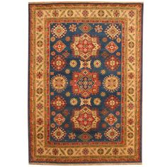 With a distinctive style, a gorgeous wool area rug from India will add some splendor to any decor. This Kazak area rug is hand-knotted with a geometric pattern in shades of blue, ivory, light green, rust, salmon, and red.