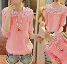 Bluse pink matt spandek combi bukat@38rb