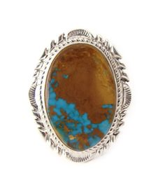 Navajo Silver Large Turquoise Ring Size 9
