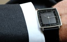 Skagen 'Strand' Square Leather Strap Watch, 35mm – $135.00