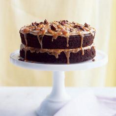 Double-Caramel Turtle Cake