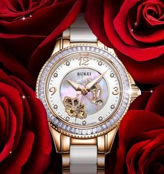 BUREI Luxury Crystal Sapphire Ladies Ceramic Band Automatic Mechanical Watch Waterproof Wristwatches With Premiums Package 15022 - Best watches buy online at cheap price
