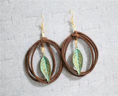 Leather Feather Twist Earrings