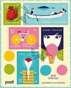 Pietari Posti's Summer feeling Finnish stamp sheet comprises five stamps depicting traditional Finnish summer highlights! Summer Highlights, Sell Stamps, Stamp Catalogue, Summer Feeling, Postage Stamps, Finland, Fairy Tales, Arts And Crafts, Colours