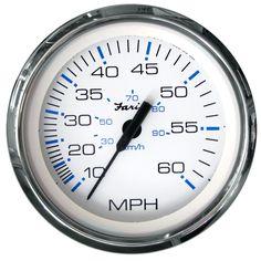 "Faria Chesapeake White SS 4"" Speedometer - 60MPH (Mechanical) - https://www.boatpartsforless.com/shop/faria-chesapeake-white-ss-4-speedometer-60mph-mechanical/"
