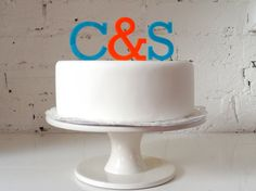Wedding Cake Topper  Initials with Ampersand Cake by MissSarahCake, £13.99