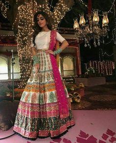 Maya Ali wearing gorgeous colorful lehanga and choli Bridal Mehndi Dresses, Pakistani Wedding Outfits, Indian Gowns Dresses, Pakistani Wedding Dresses, Bridal Outfits, Pakistani Bridal Lehenga, Indian Wedding Lehenga, Walima, Punjabi Wedding