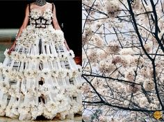 Fashion & Flowers. Alexander Mcqueen S/S 2013 & The cherry blossoms in Japan. Collage by Liliya Hudyakova