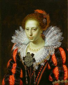 In red-Paulus Moreelse   Portrait of a Young Lady, c. 1620