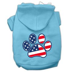 Patriotic Paw Screen Print Pet Hoodies Baby Blue S (10)