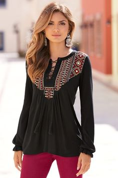Embroidered lace-up tunic top
