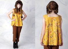 vintage 60's yellow floating flowers baby doll blouse women's by foxandfawns, $24.00