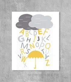 Raining Alphabet with Umbrella and Clouds Baby di MorganMarieMakes, $15.00