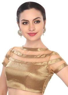 Golden blouse that could also be used as crop top Saree Jacket Designs, Choli Blouse Design, Saree Blouse Neck Designs, Golden Blouse Designs, Fancy Blouse Designs, Stylish Blouse Design, Designer Blouse Patterns, Crickets Funny, Stitching Dresses