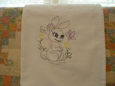 Playful Bunny Flour Sack Dish Towel by SugarHillEnterprises on Etsy
