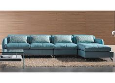 Modern Blue Leather Sectional Sofa