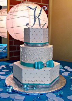 Elegant Tiffany Blue and White Buttercream Wedding Cake with Bling by Graceful Cake Creations, via Flickr