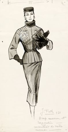 Marcel Fromenti  --------  fashion drawing based on design by Jacques Fath (1912-54) of a tailored day suit with a voile brown scarf, matching hat and gloves. Fath was renowned for his moulded and overtly feminine interpretations of the traditional day suit and dress. It was drawn by Marcel Fromenti for illustration in The Lady magazine, London, 1953-4