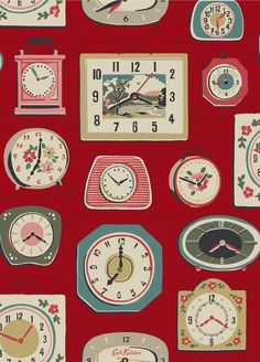 Clocks Our seasonal theme for was time, graphically captured here in our lively novelty Clocks print Cath Kidston Novelty Clocks, Images Vintage, Illustration, Novelty Print, Surface Pattern Design, Beautiful Patterns, Pattern Wallpaper, Textured Background, Print Patterns