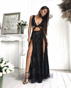 Charming Sexy Sequin Sparkly Simple Rose Gold and Black Split Fashion  Popular Prom Dresses 13b64e2d5015