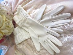 Vintage 1950's wedding gloves Ivory gloves retro wedding gloves formal evening bridal gloves rockabilly glamour style mid length gloves by thevintagemagpie01 on Etsy